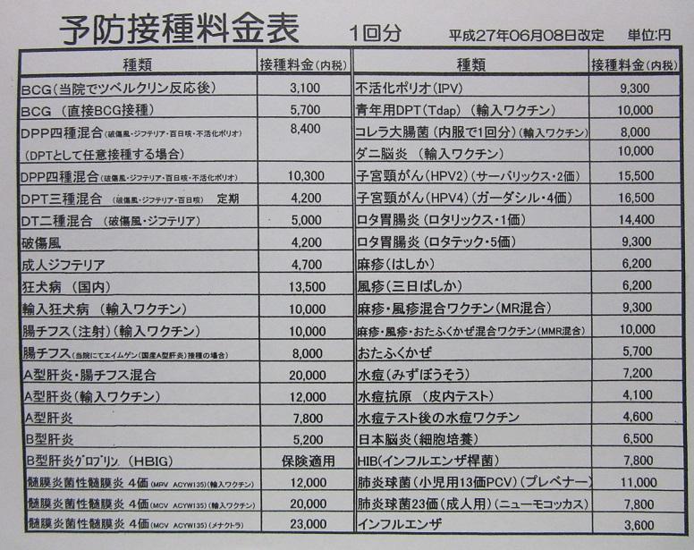 予防接種料金表